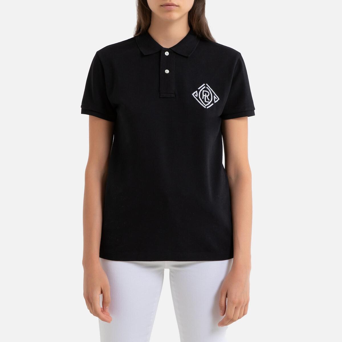 цена на Футболка-поло La Redoute С короткими рукавами и вышивкой S черный