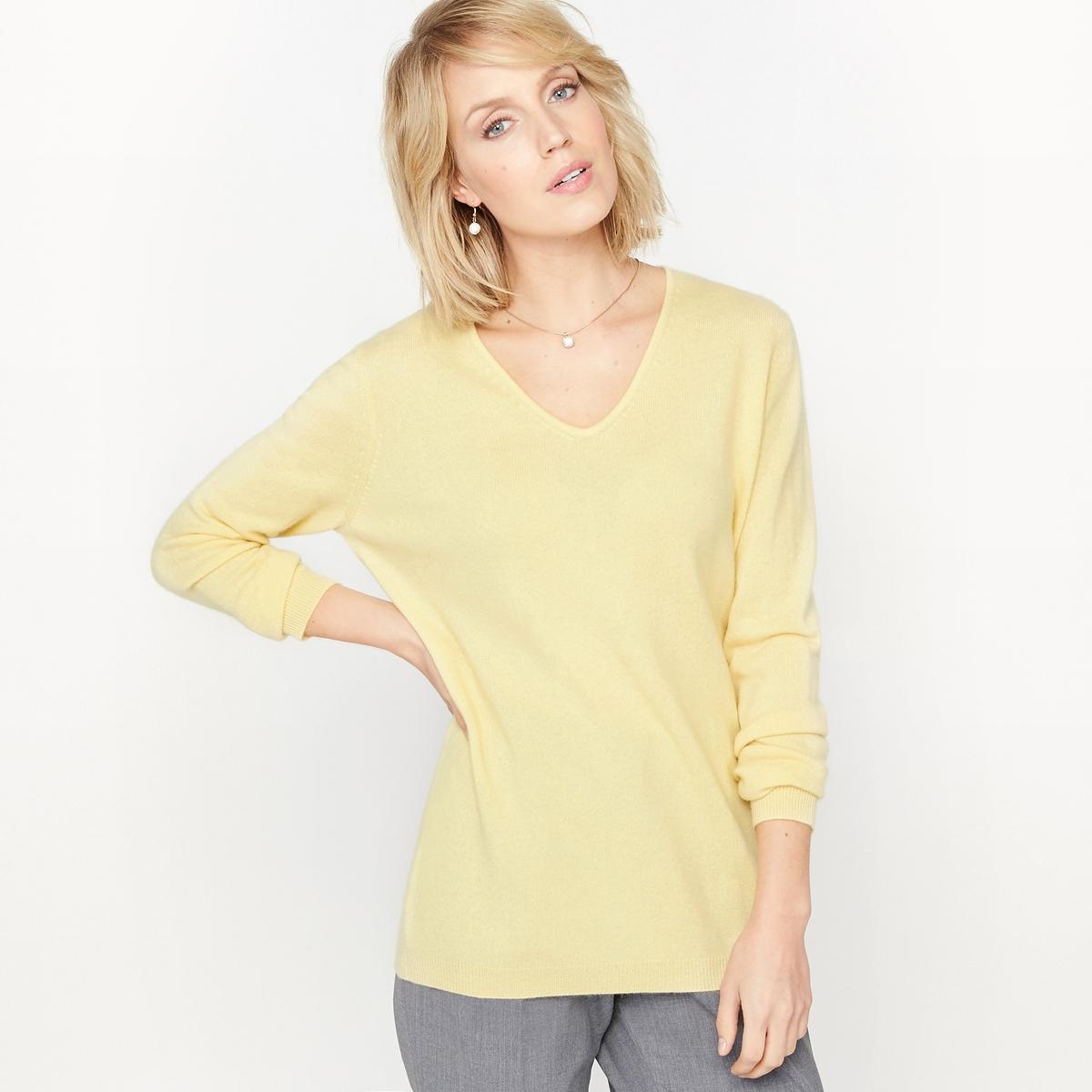 Пуловер с V-образным вырезом, 100% кашемирПуловер с V-образным вырезом. Этот роскошный пуловер подарит вам непревзойденное ощущение мягкости! Невероятная лёгкость и легендарная мягкость кашемира позволяют носить этот пуловер, ничего не пододевая. Длинные рукава. Края рукавов и низа связаны в рубчик. Приспущенные плечевые швы.    Состав и описание : Материал: 100% кашемирДлина: 62 смМарка:  Anne WeyburnУход :Ручная стирка или сухая чистка.Стирать и гладить с изнанки..Сушить на горизонтальной поверхности в расправленном состоянии.Гладить на низкой температуре.<br><br>Цвет: бирюзовый,желтый<br>Размер: 42/44 (FR) - 48/50 (RUS).42/44 (FR) - 48/50 (RUS).46/48 (FR) - 52/54 (RUS).50/52 (FR) - 56/58 (RUS)