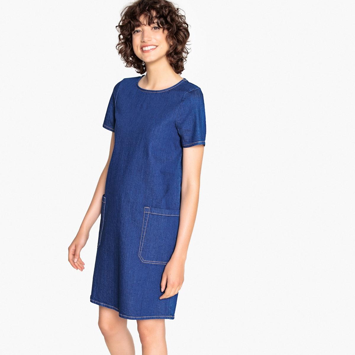 цена Платье La Redoute Прямое с круглым вырезом и короткими рукавами из джинсовой ткани 34 (FR) - 40 (RUS) синий онлайн в 2017 году