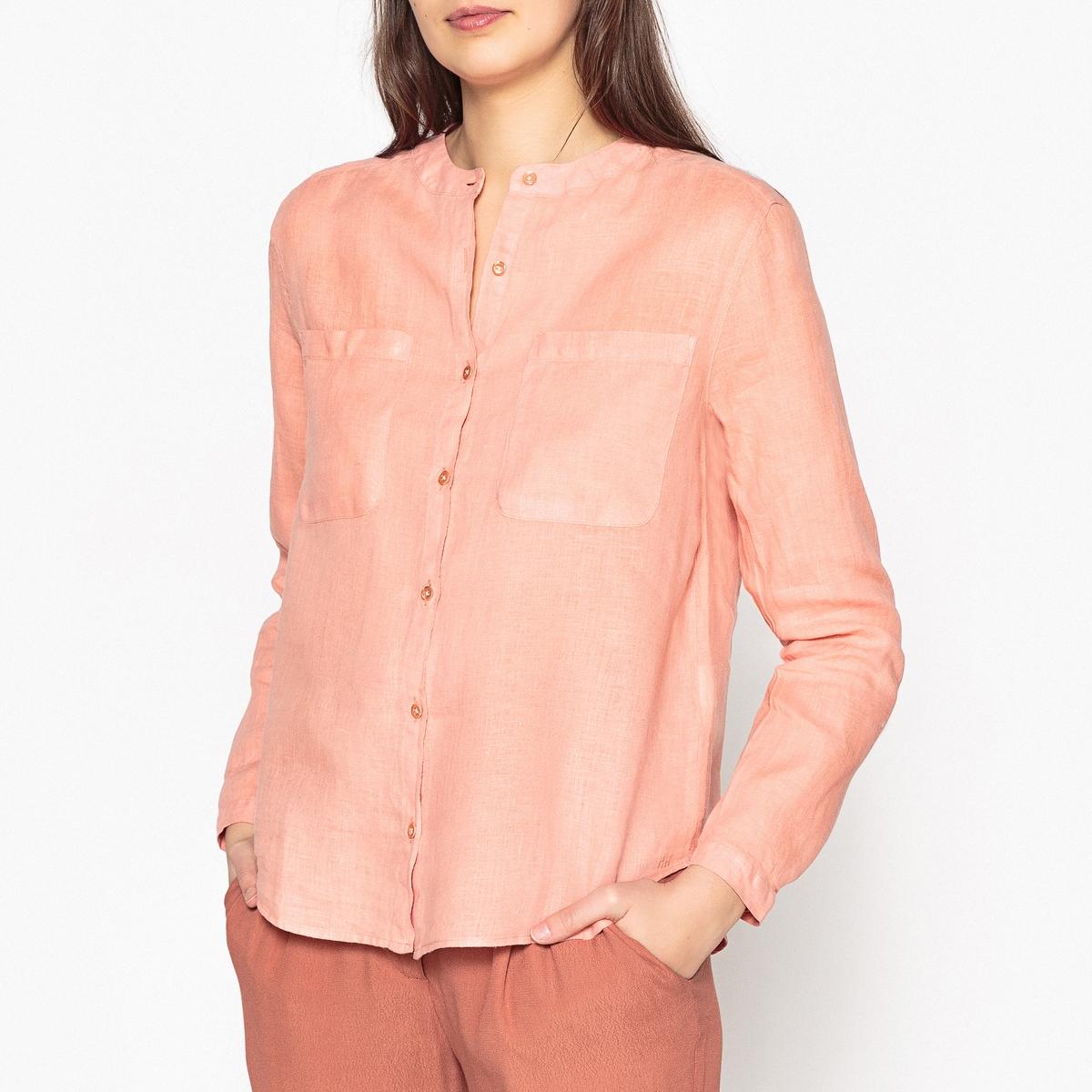 Фото - Рубашка прямого покроя из льна LINEA рубашка однотонная прямого покроя с короткими рукавами 100% лен