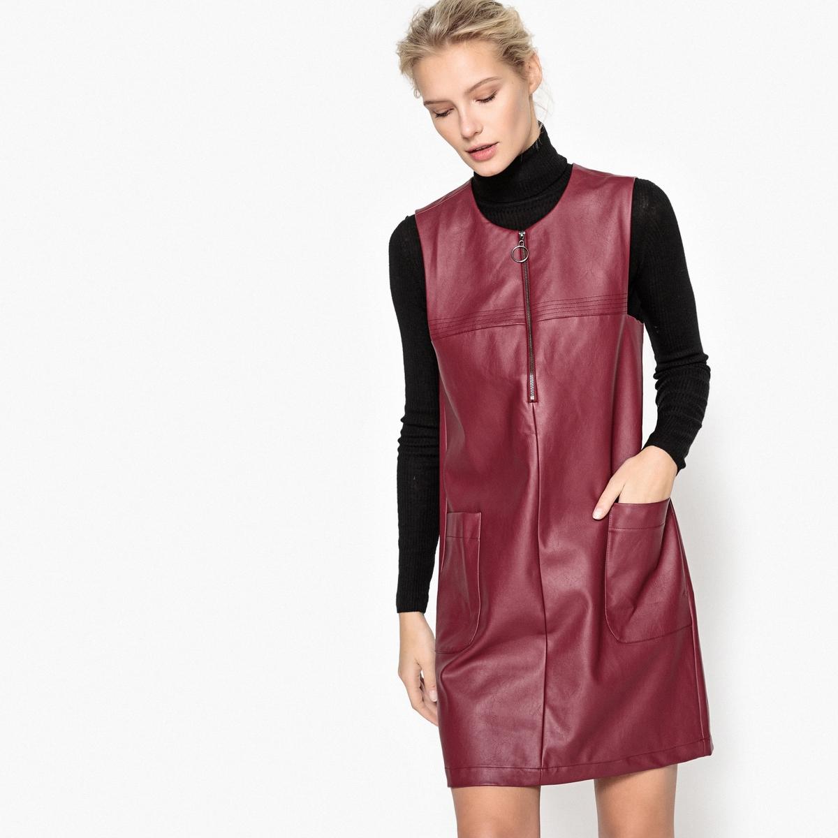 Платье прямое из искусственной кожи с застежкой на молнию спереди
