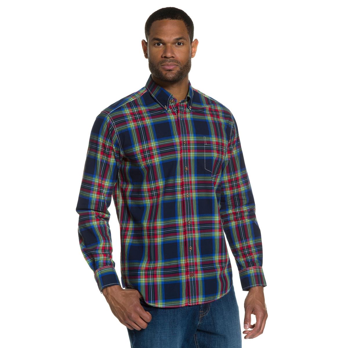 Рубашка с длинными рукавамиРубашка в клетку с цветными швами. Уголки воротника на пуговицах, нагрудный карман. Подкладка манжет из ткани шамбре . Modern fit - слегка облегающий покрой, позволяющий носить рубашку поверх брюк  . Длина в зависимости от размера ок. 78-94 см.<br><br>Цвет: в клетку<br>Размер: 3XL.XXL