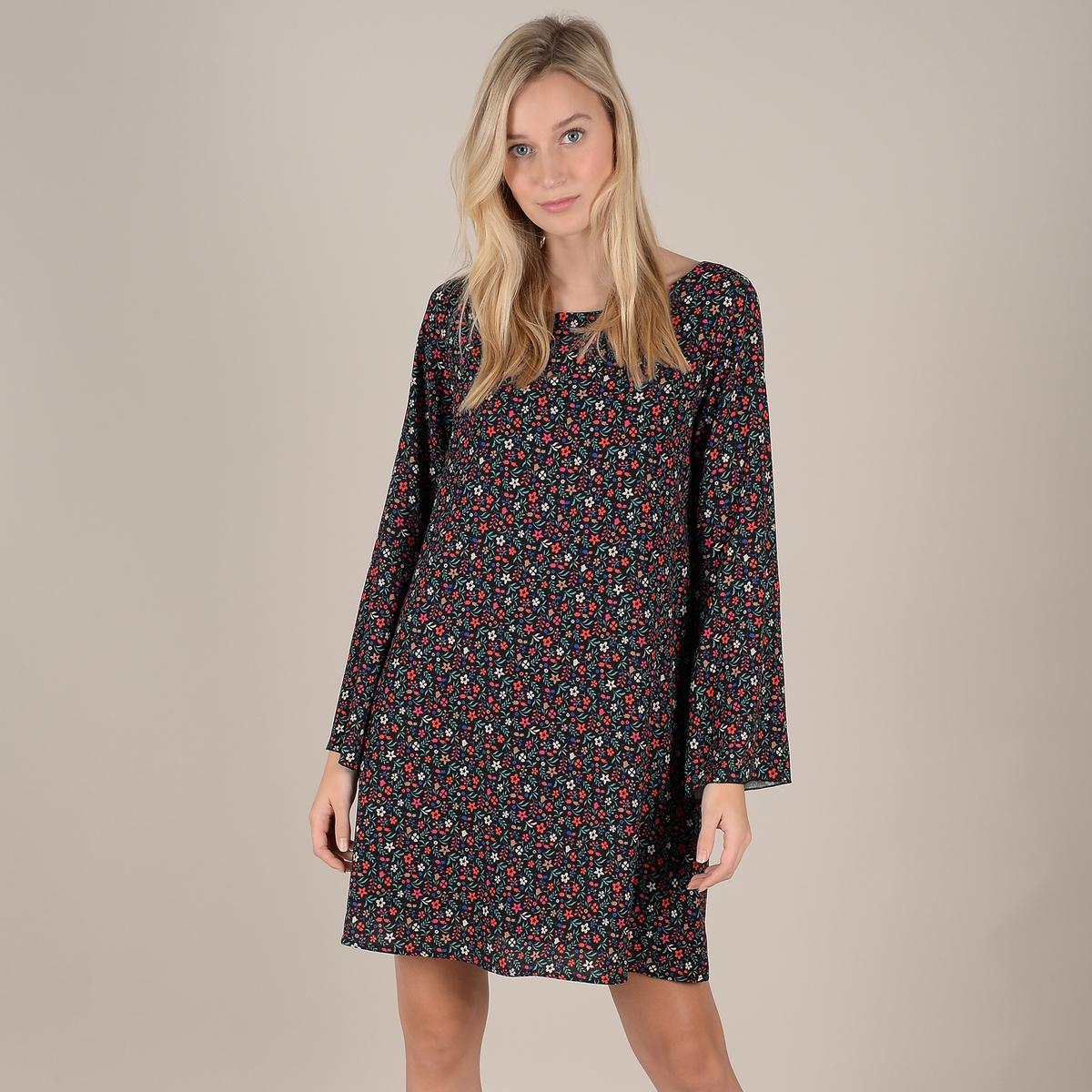 Платье La Redoute Расклешенное короткое с цветочным принтом XS черный