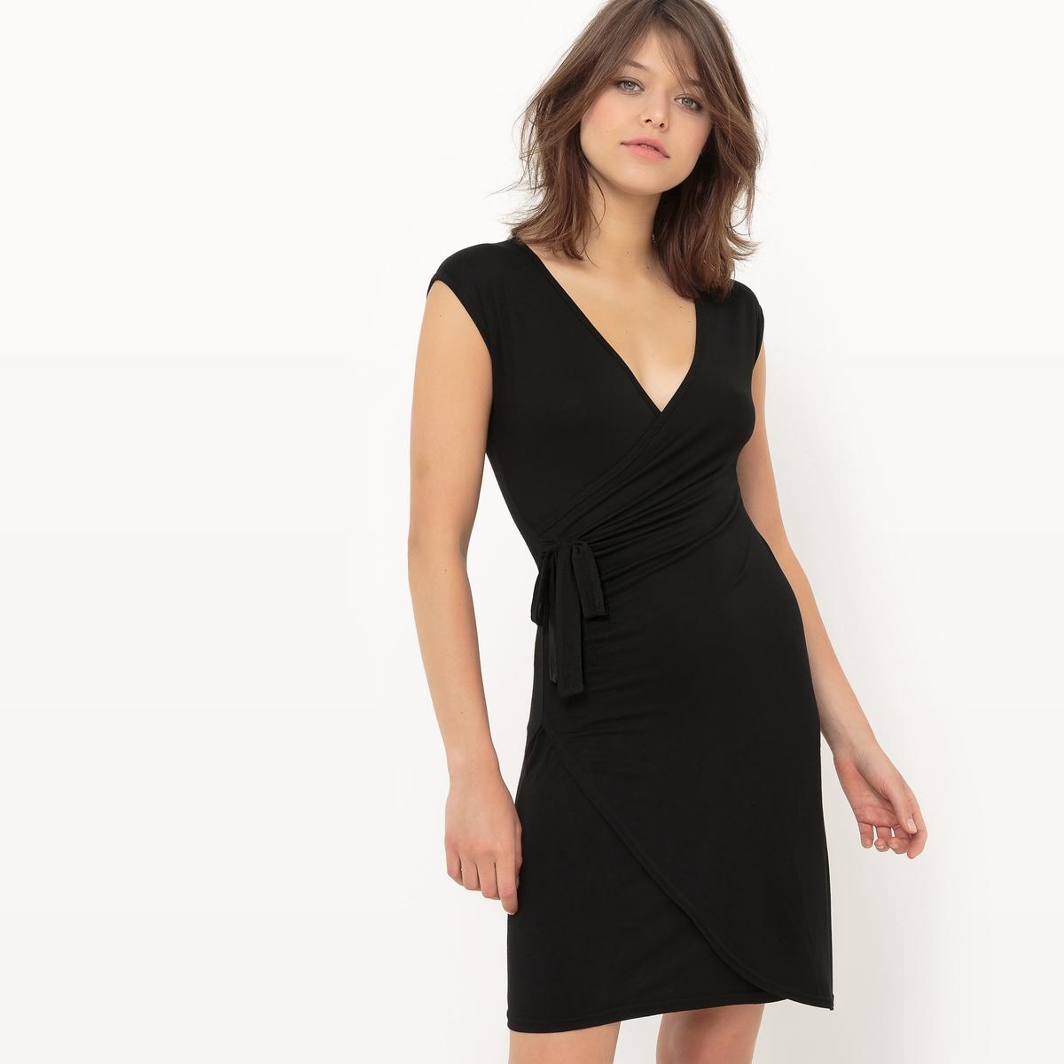 Платье с запахом в горох, короткие рукава