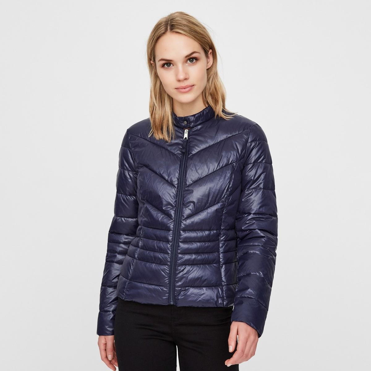 Куртка La Redoute Короткая на молнии с высоким воротником L синий