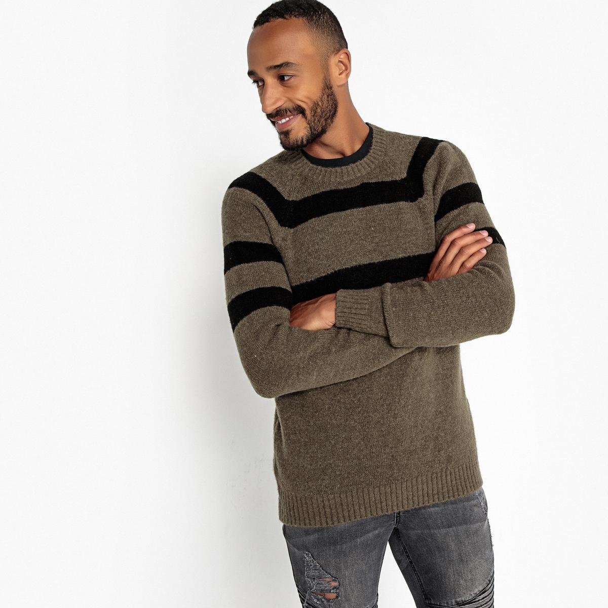 Пуловер La Redoute С круглым вырезом из плотного трикотажа L зеленый пуловер la redoute с круглым вырезом из шерсти мериноса pascal 3xl черный