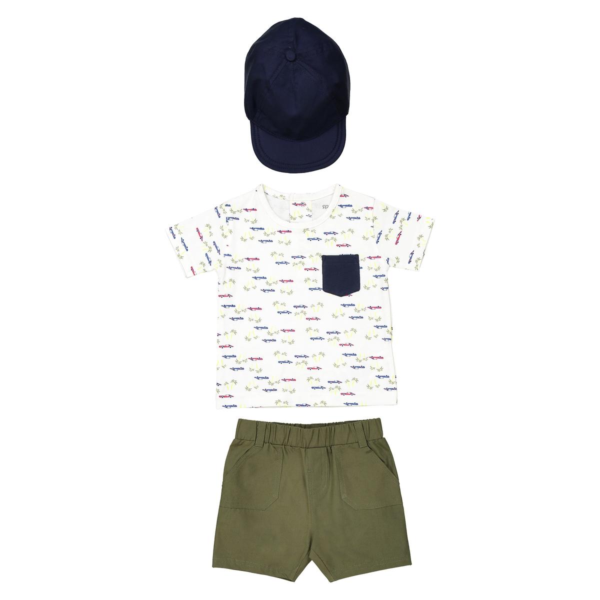 Комплект: футболка, бермуды, кепка 1 мес - 3 года