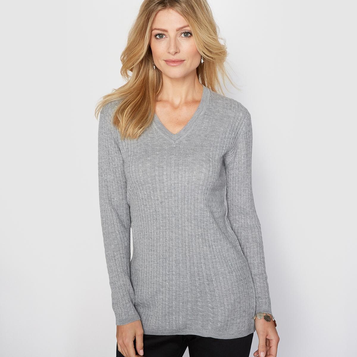 Пуловер с V-образным вырезом, 10% шерсти