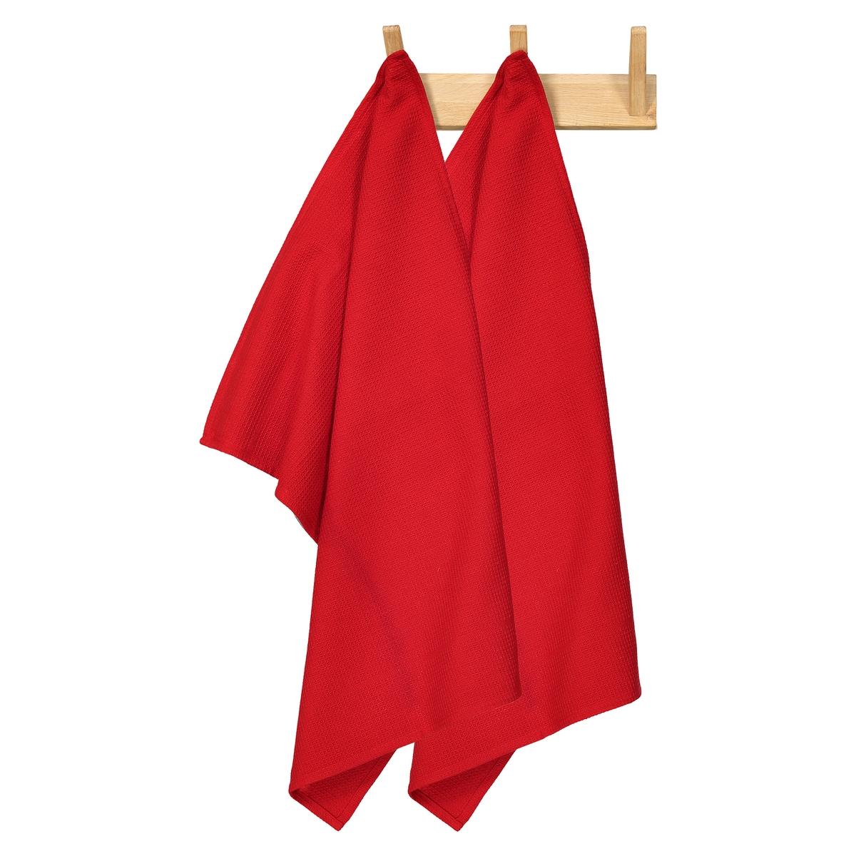 Комплект из полотенец из La Redoute Вафельной ткани единый размер красный полотенце la redoute для рук из махровой ткани хлопок с люверсом единый размер бежевый