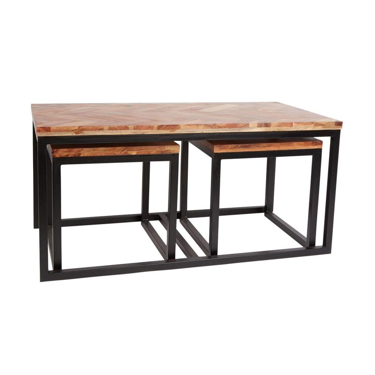 Set De 3 Tables Basses Ongrie Bois D'acacia