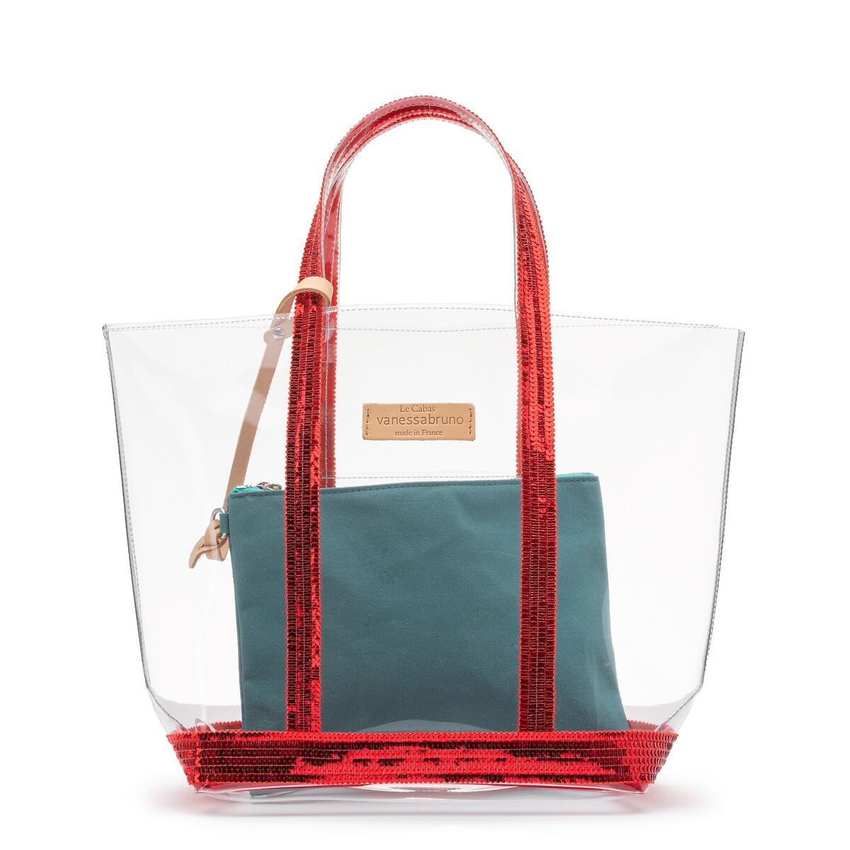 Сумка-шоппер La Redoute Прозрачная с клатчем единый размер красный