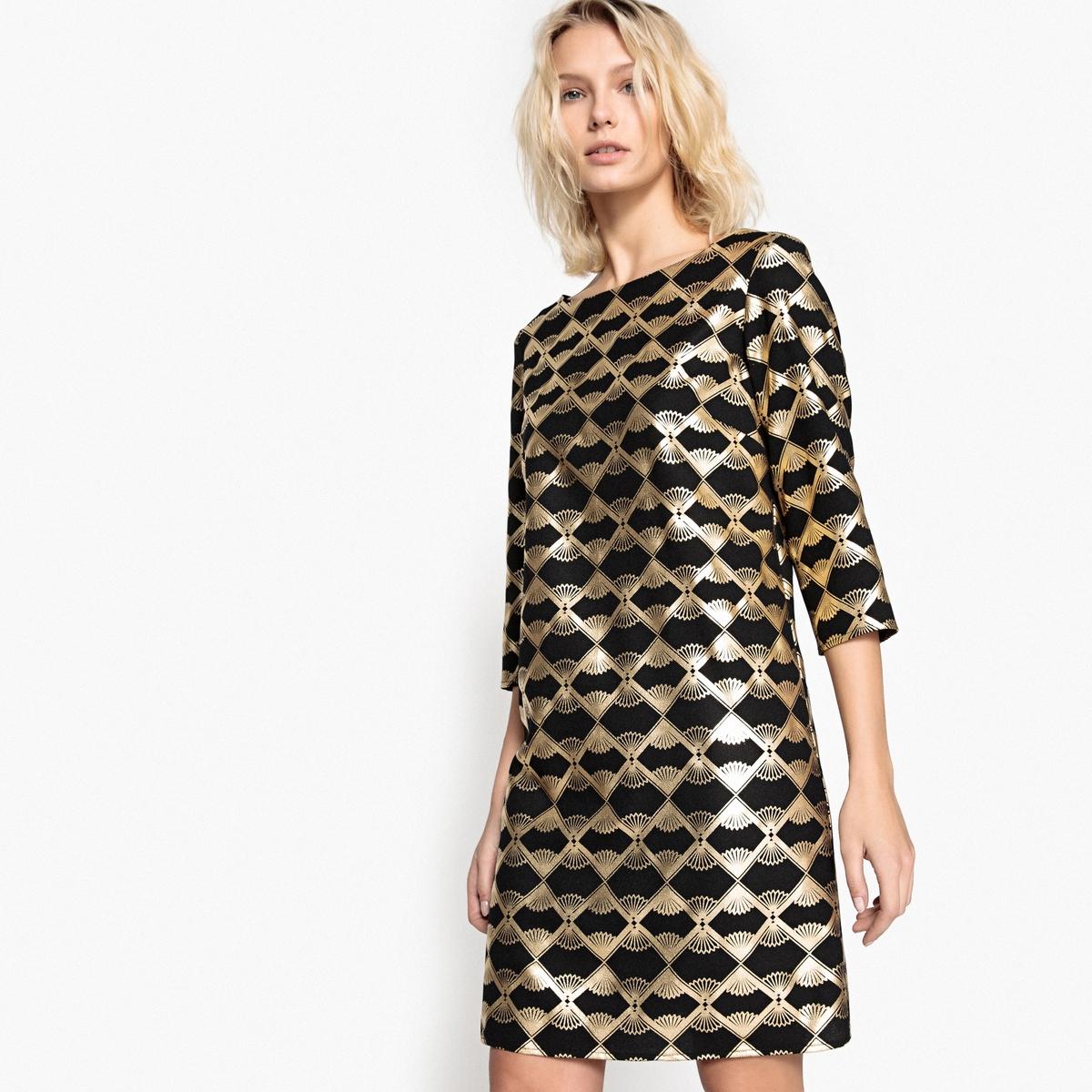 Платье короткое графичное с блестящим эффектом