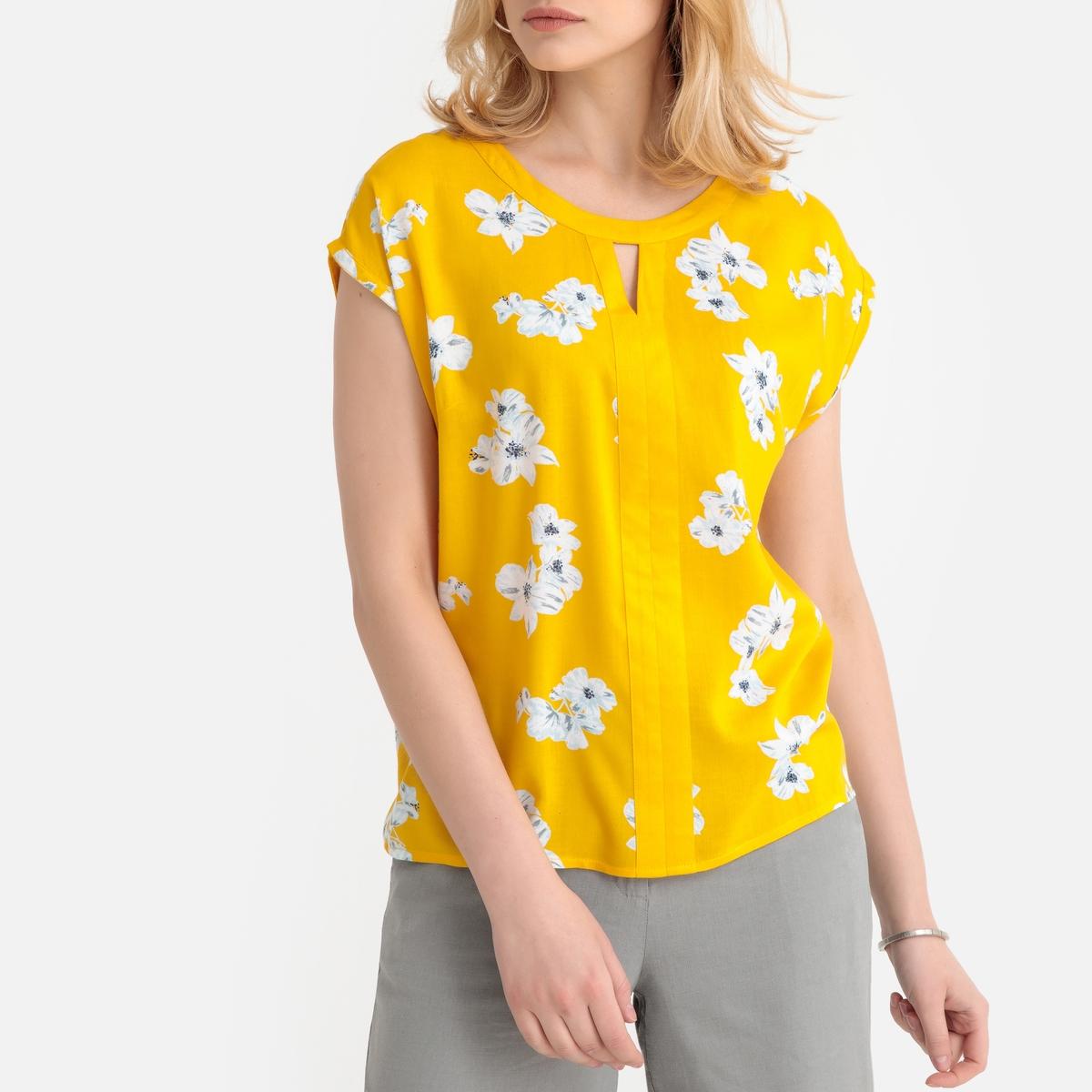 Imagen secundaria de producto de Blusa vaporosa con estampado de flores, manga corta - Anne weyburn