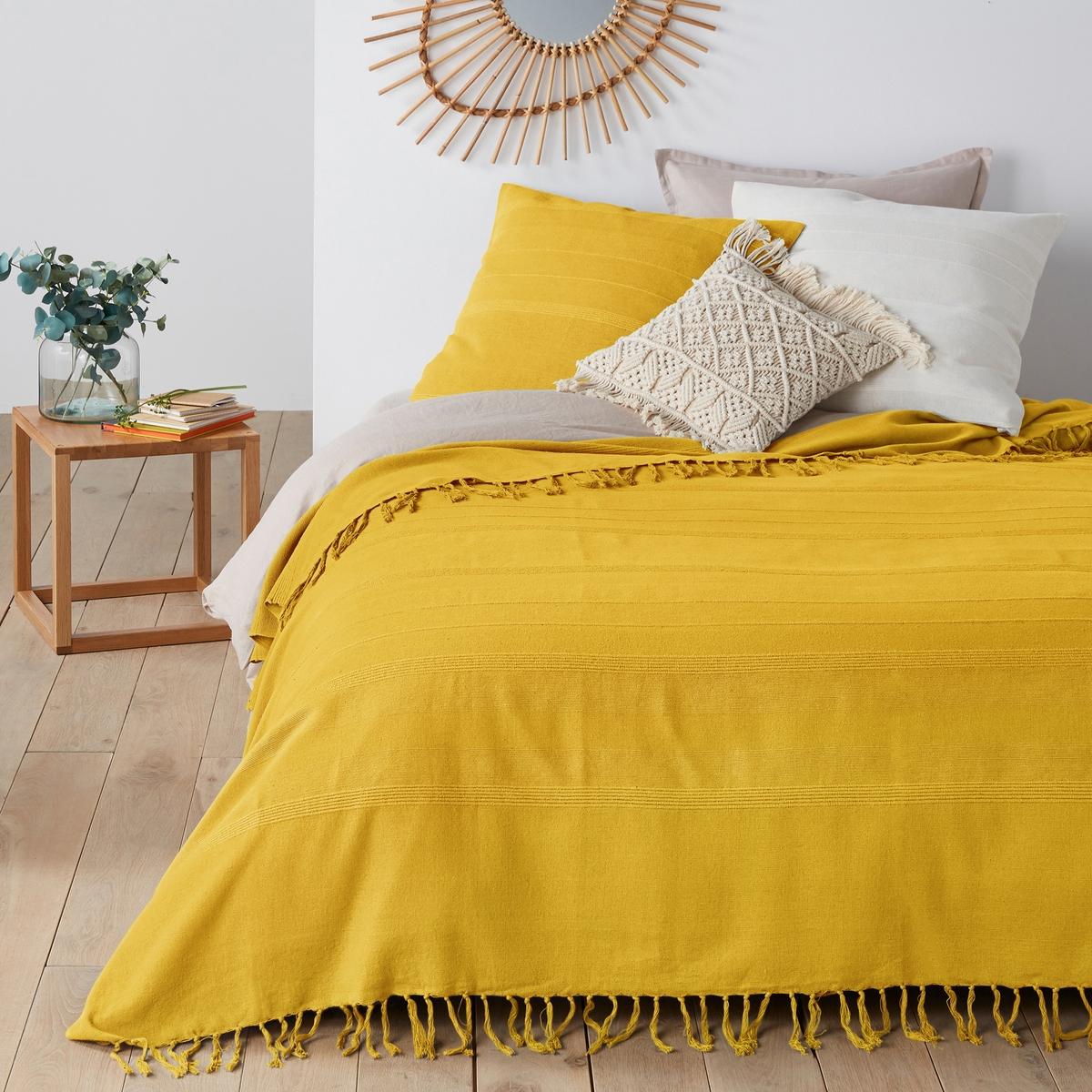Фото - Покрывало LaRedoute С бахромой Nedo 230 x 250 см желтый покрывало laredoute стеганое из 100 хлопка scenario 230 x 250 см белый