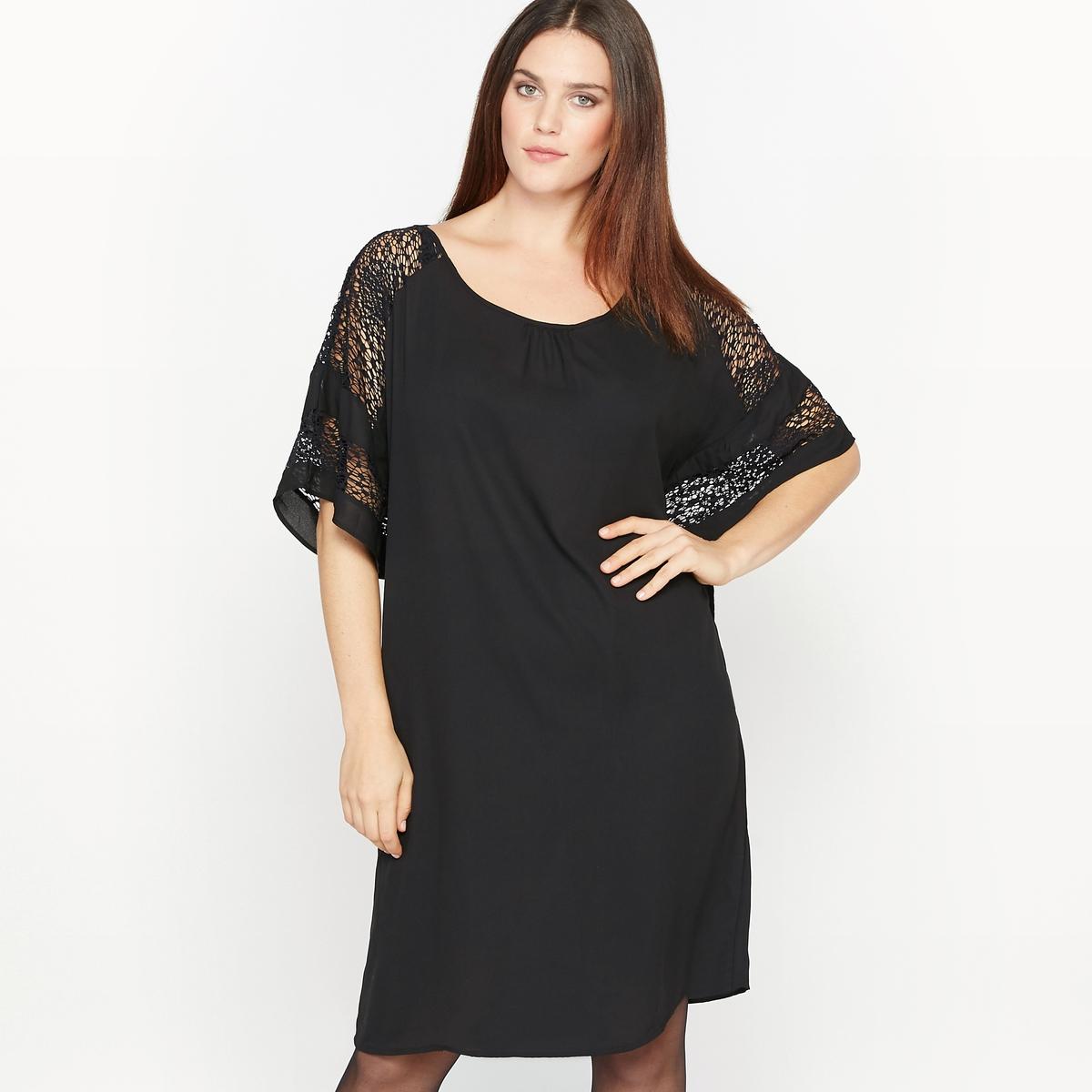 Платье с кружевомСостав и описание :Материал : 100% полиэстер.Кружево 95% полиамида, 5% эластана.Длина : 95 см.Марка : CASTALUNAУход : Машинная стирка при 30 °С.<br><br>Цвет: черный<br>Размер: 48 (FR) - 54 (RUS)