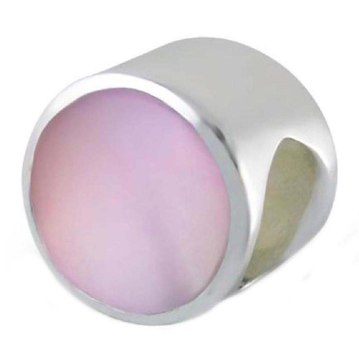 Charm Perle Disque Nacre Rose Argent 925 - Compatible Pandora, Trollbeads, Chamilia, Biagi