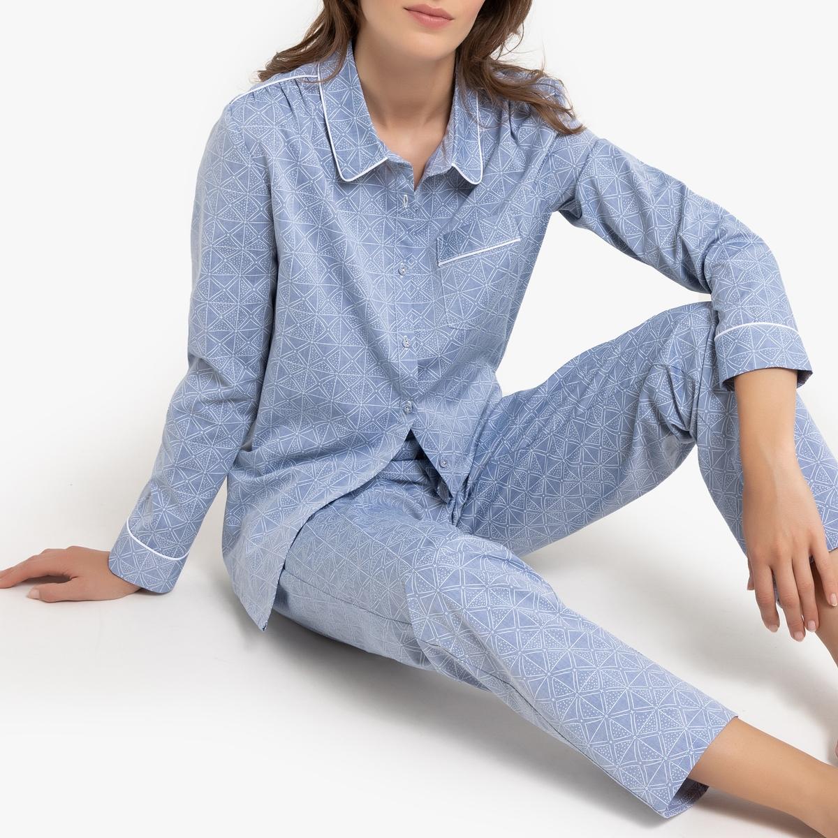 Pijama de chambray estampado