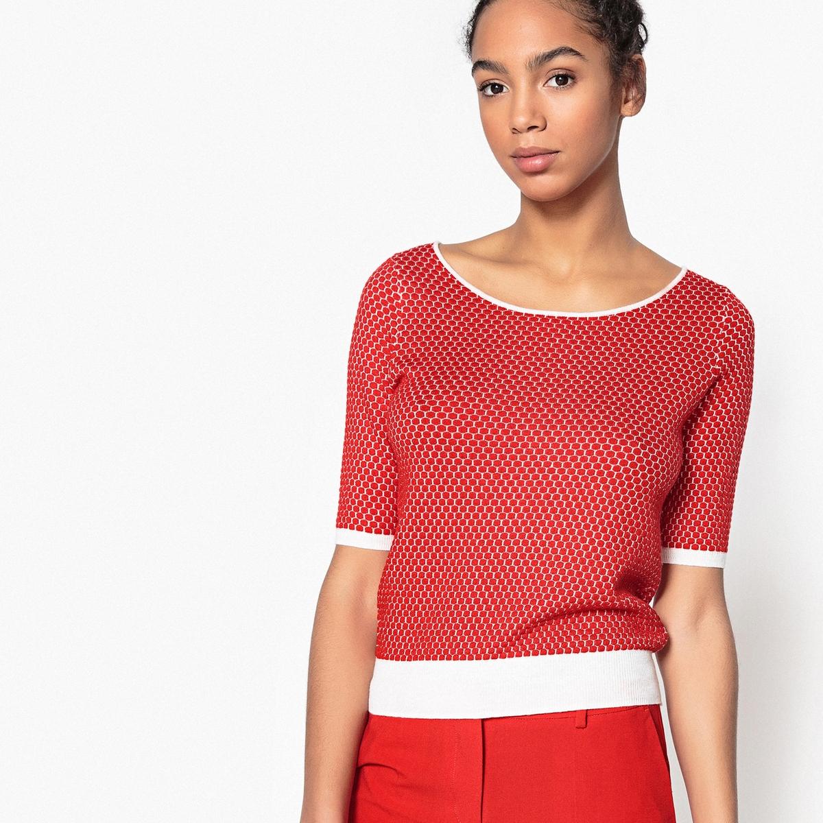 Пуловер двухцветный с глубоким круглым вырезом из вафельного трикотажа