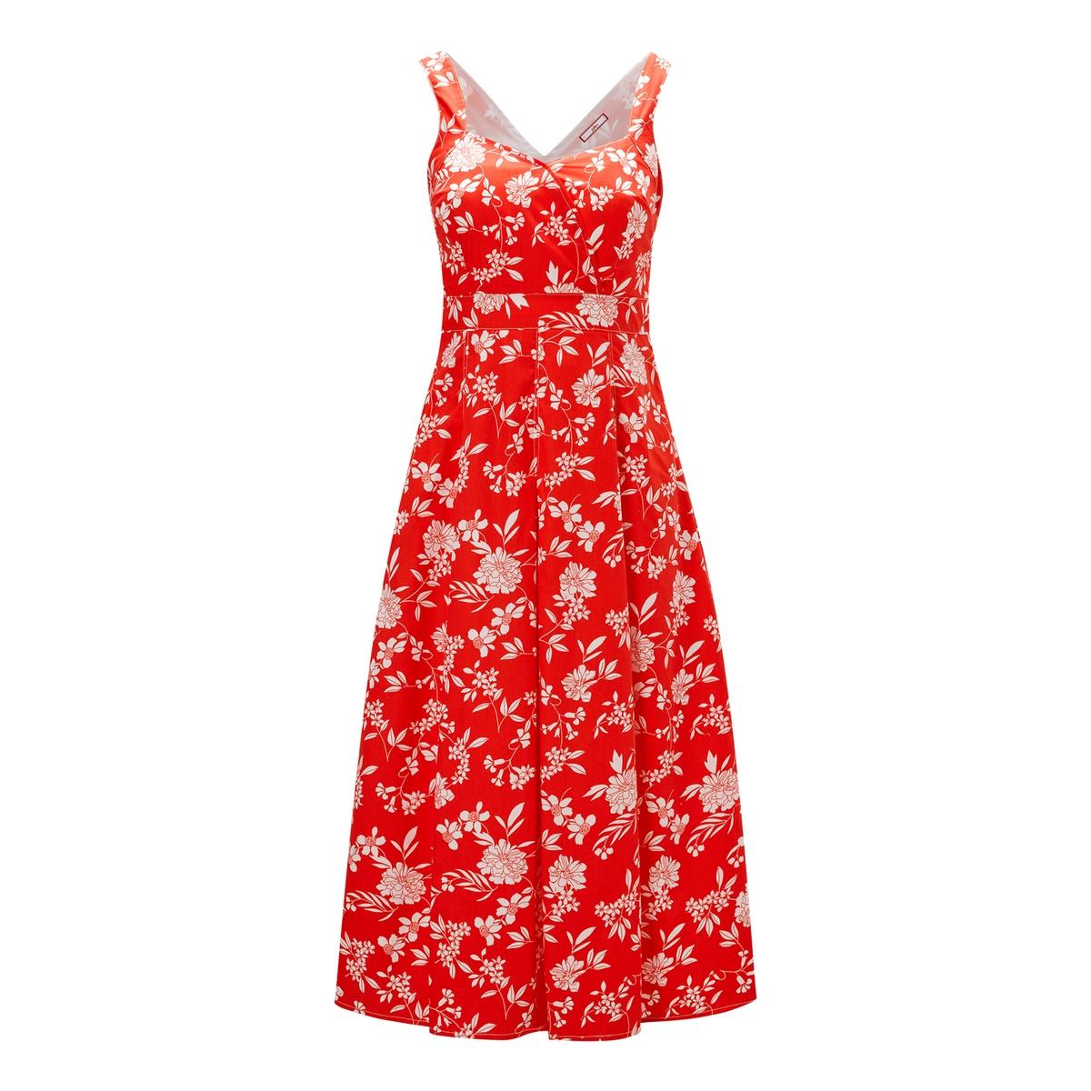 Платье La Redoute Расклешенное с цветочным рисунком на бретелях 36 (FR) - 42 (RUS) красный платье la redoute короткое расклешенное с анималистическим рисунком 36 fr 42 rus синий