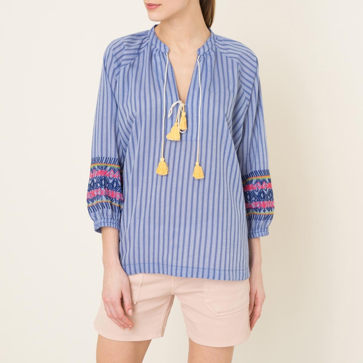 Рубашка CHANDELLEРубашка LEON AND HARPER - модель CHANDELLE 100% хлопок . Тунисский вырез с завязками и помпонами . Рукава ? эластичные снизу  . Оригинальная вышивка  на рукавах . Прямой низ. Состав и описание   Материал : 100% хлопок   Марка : LEON AND HARPER<br><br>Цвет: синий