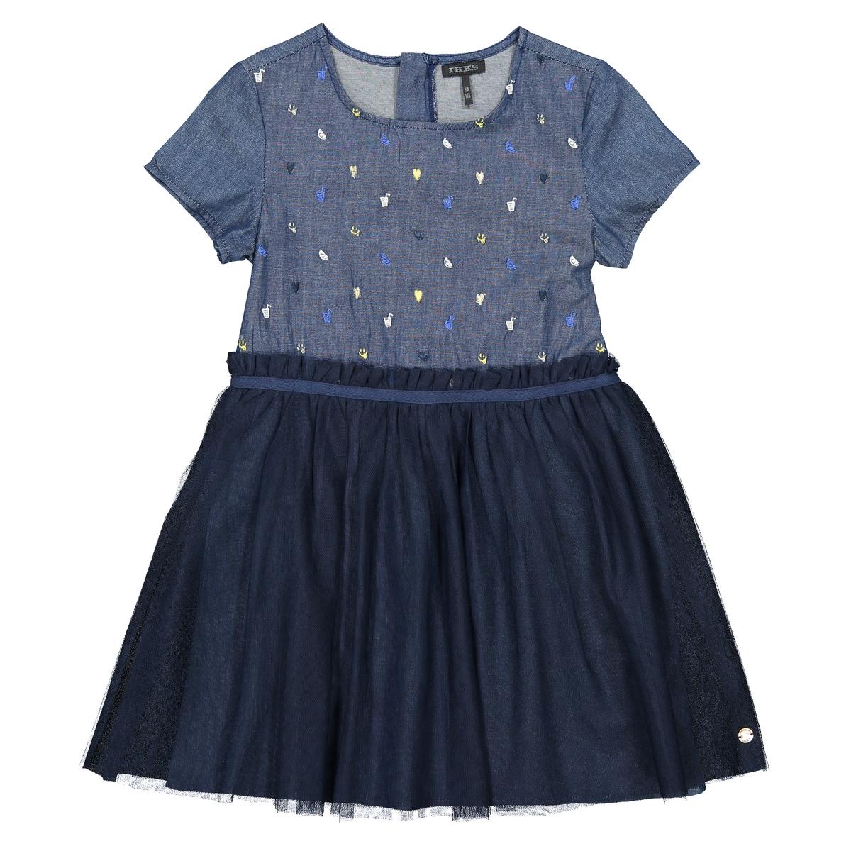 Платье La Redoute Расклешенное с короткими рукавами 12 лет -150 см синий