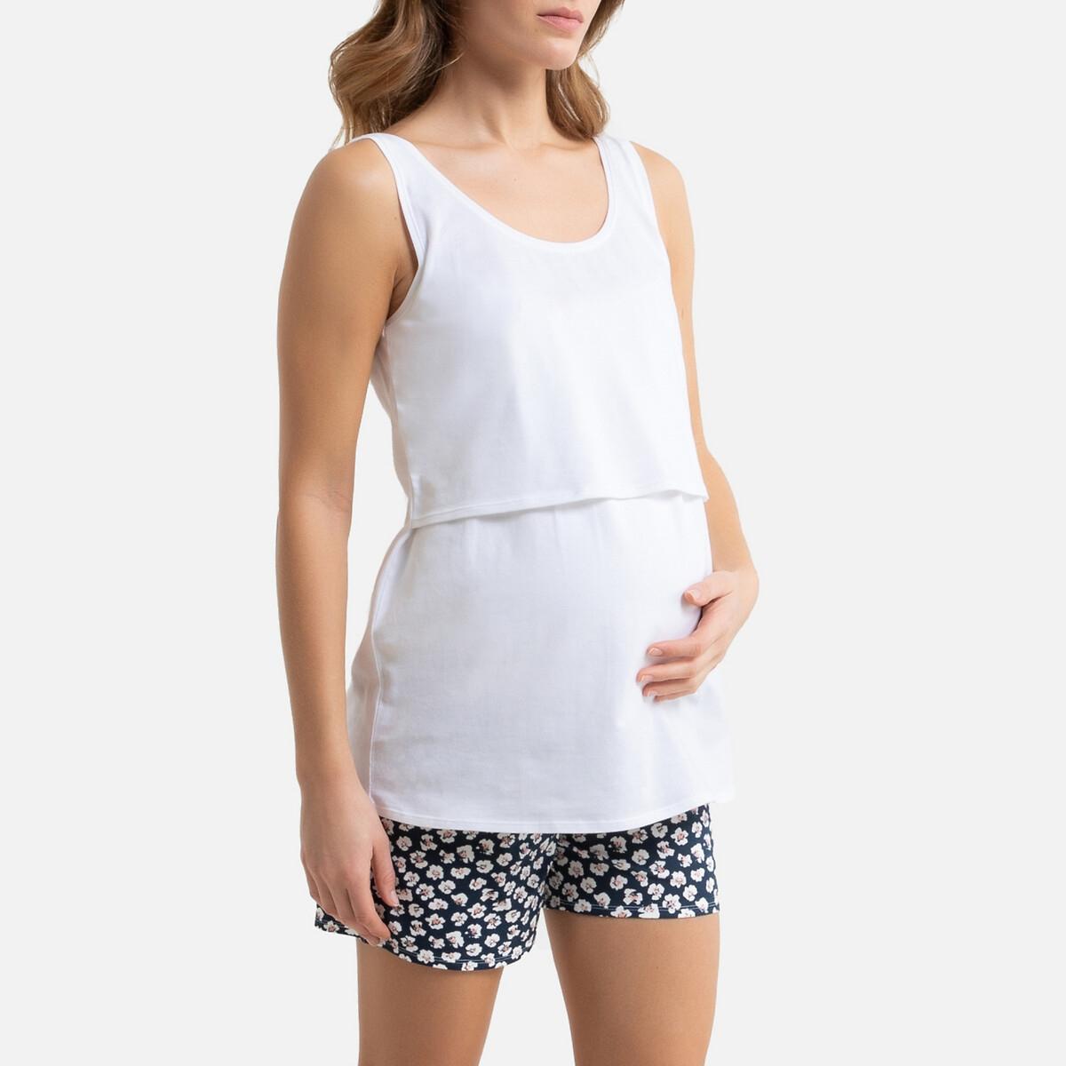 Pijama curto, especial gravidez e amamentação, em algodão bio