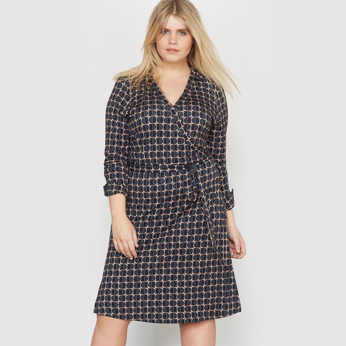 Платье-футляр из трикотажа с рисунком