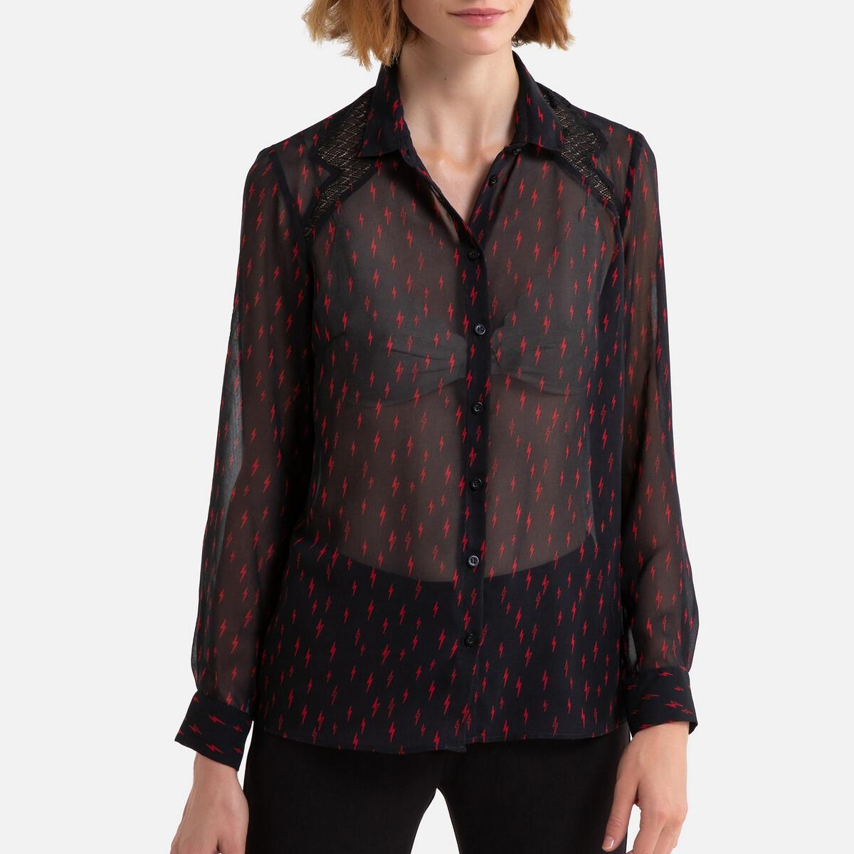 Фото - Блузка LaRedoute Прозрачная с рисунком и длинными рукавами 42 (FR) - 48 (RUS) черный блузка с рисунком и длинными рукавами для периода беременности