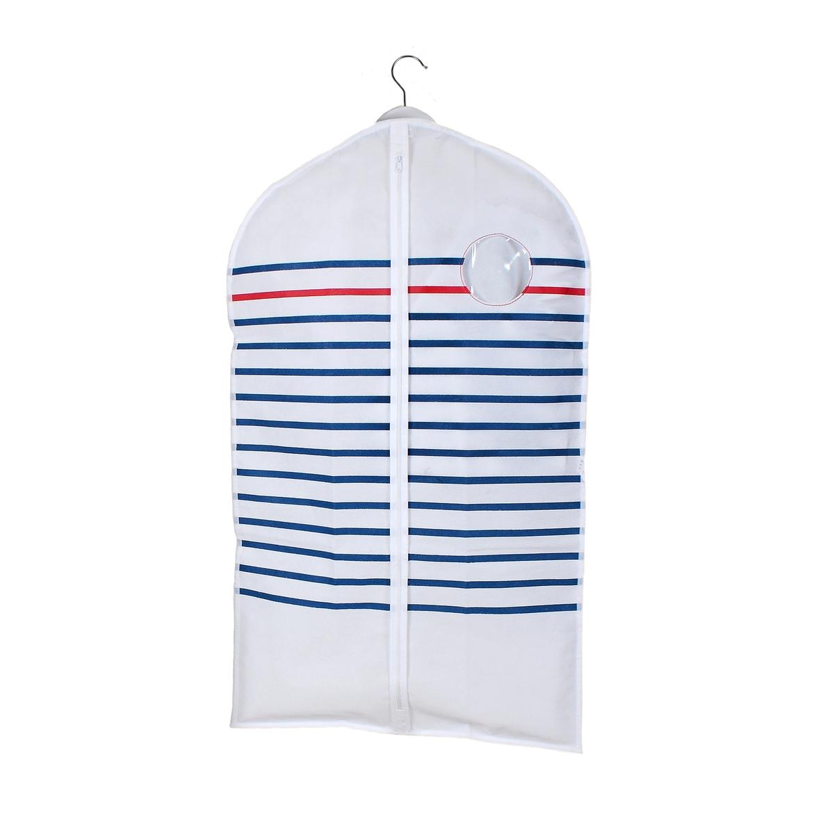 Комплект из 2 чехлов для одежды BazilХарактеристики чехла:- Нетканый, 100% полипропилена, с принтом в голубую/красную полоску на белом фоне.- 2 ручки для переноски позволяют сложить чехол вдвое, отверстие для вешалки-плечиков.- Застежка на молнию.- Прозрачная вставка.Размеры чехла:Ширина 60 см.Высота 100 см (для курток).Найдите все чехлы для хранения Bazil на сайте laredoute.ru.<br><br>Цвет: в полоску белый/темно-синий<br>Размер: единый размер
