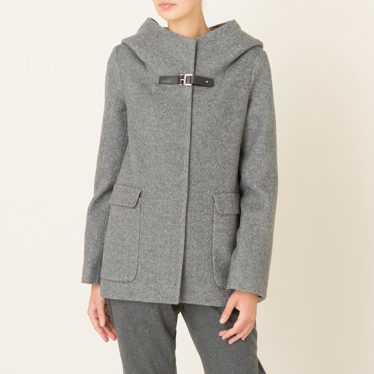 Пальто короткое из шерстяного драпа пальто с эффектом шерстяного драпа