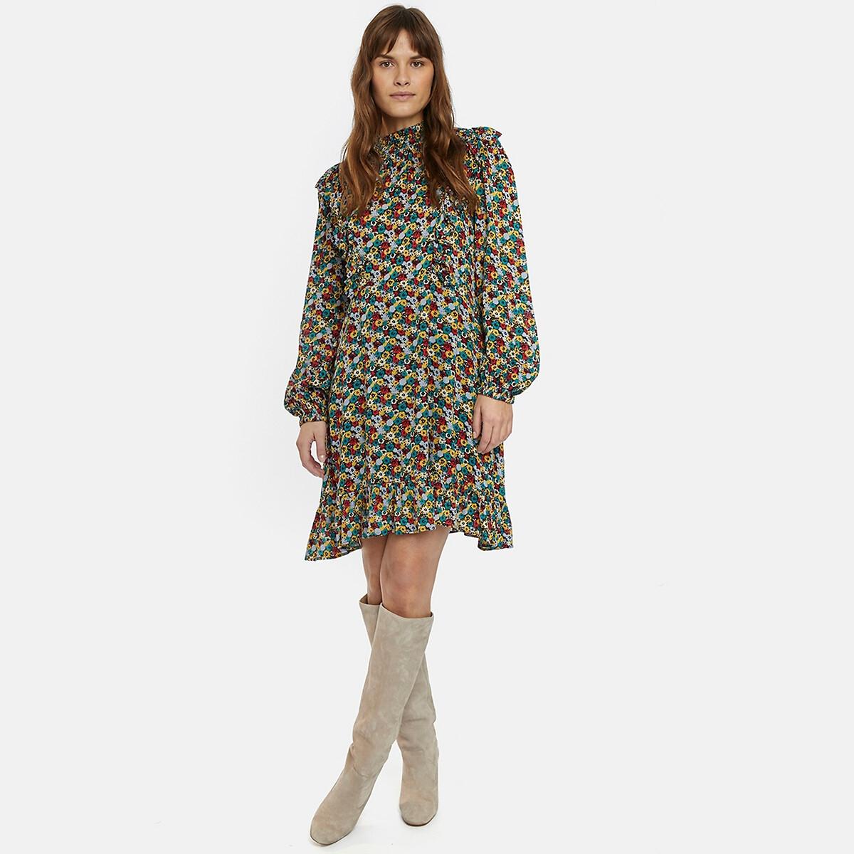 Платье LaRedoute С цветочным принтом и воротником-стойкой длинные рукава S разноцветный