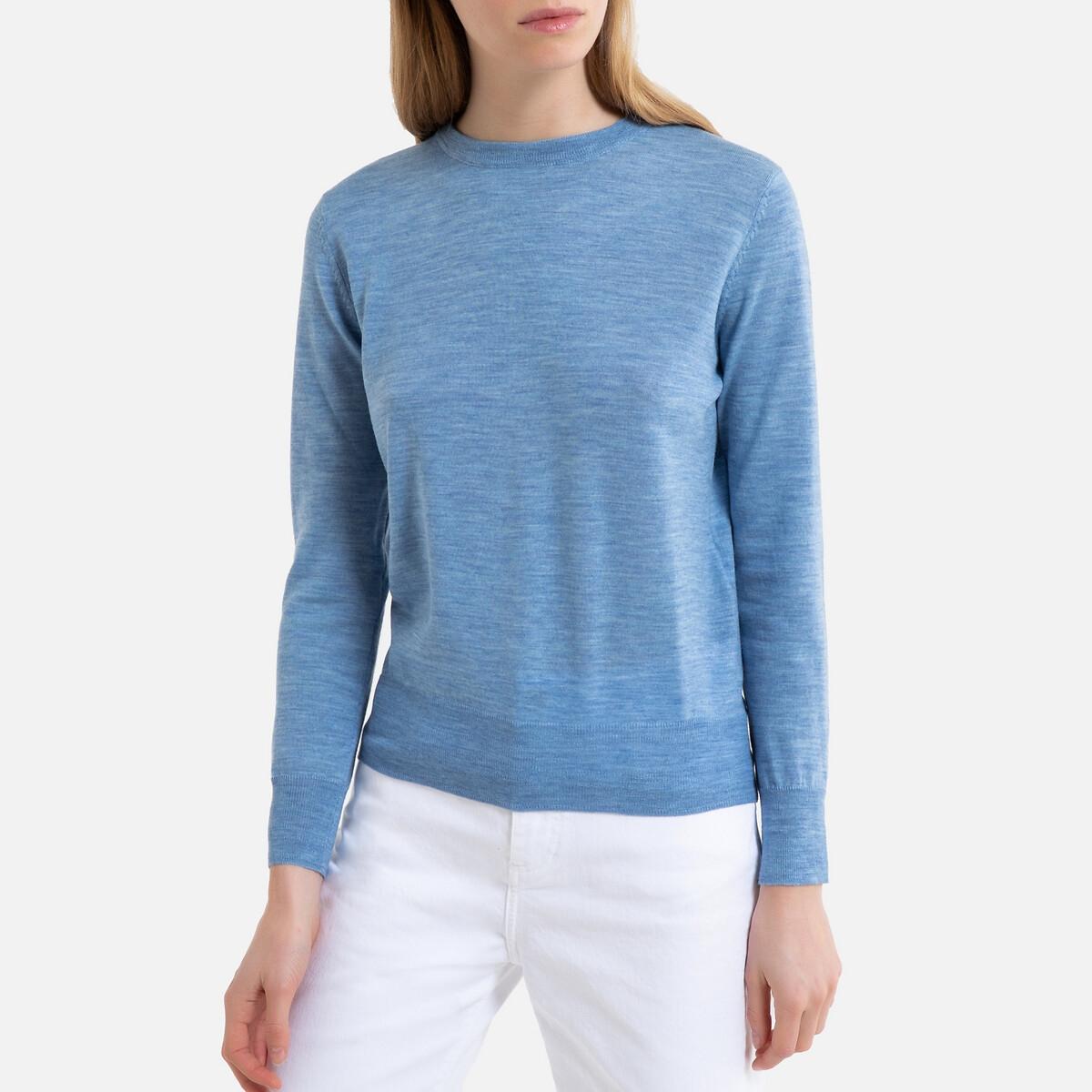 Пуловер La Redoute Из шерсти с круглым вырезом из тонкого трикотажа MARCELLO S синий пуловер la redoute из тонкого трикотажа со шнуровкой l бежевый