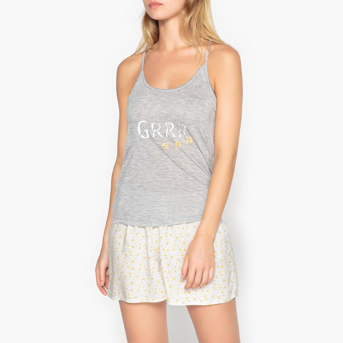 Пижама с шортами с рисунком на тонких перекрещивающихся бретелях цены онлайн
