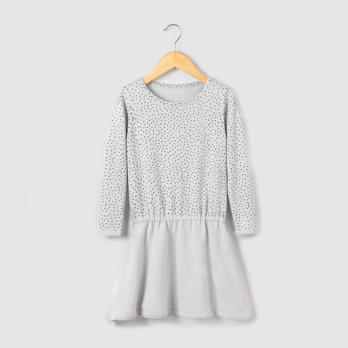 Платье-пуловер с принтом в горошек 3-12 лет