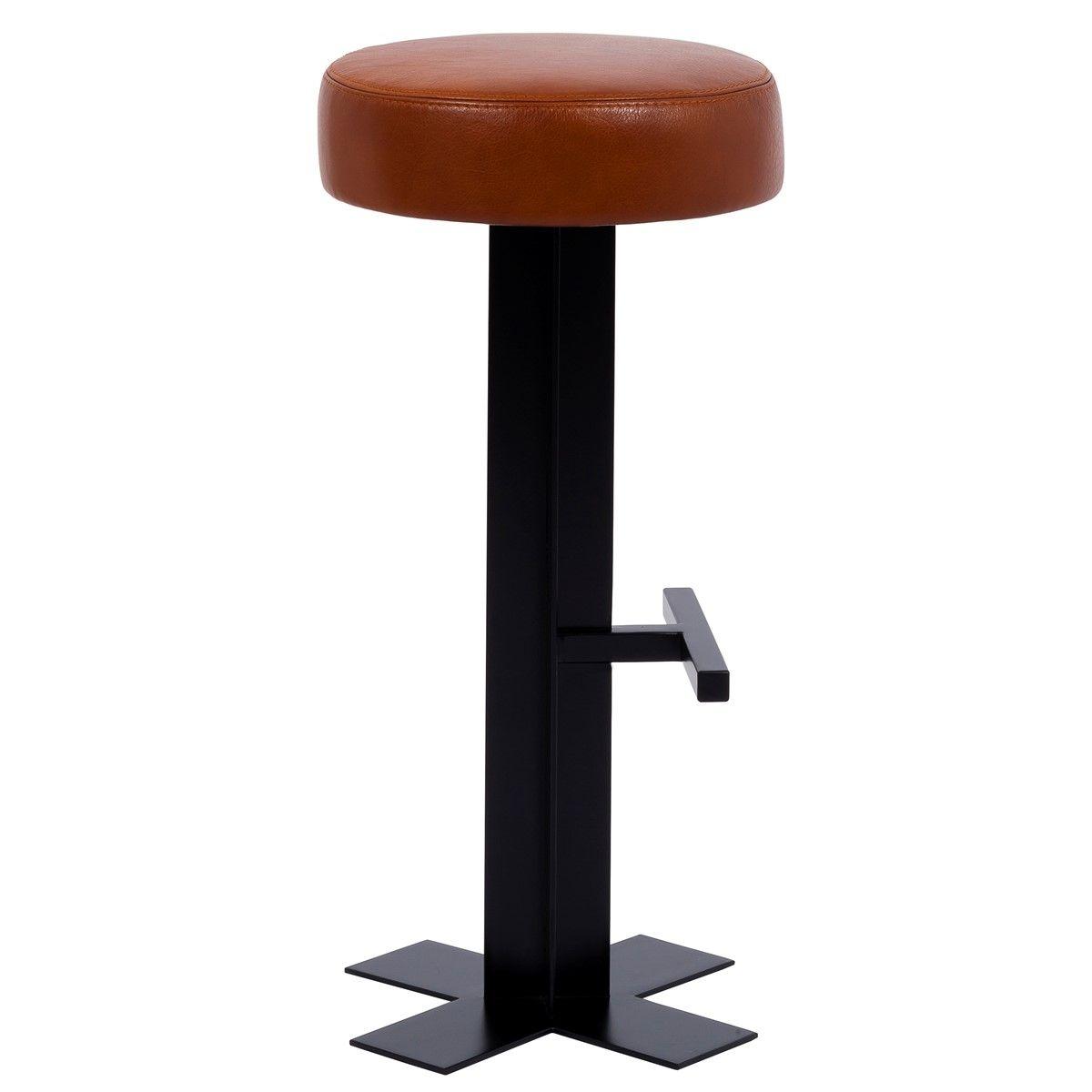Tabouret de Bar design cuir et métal