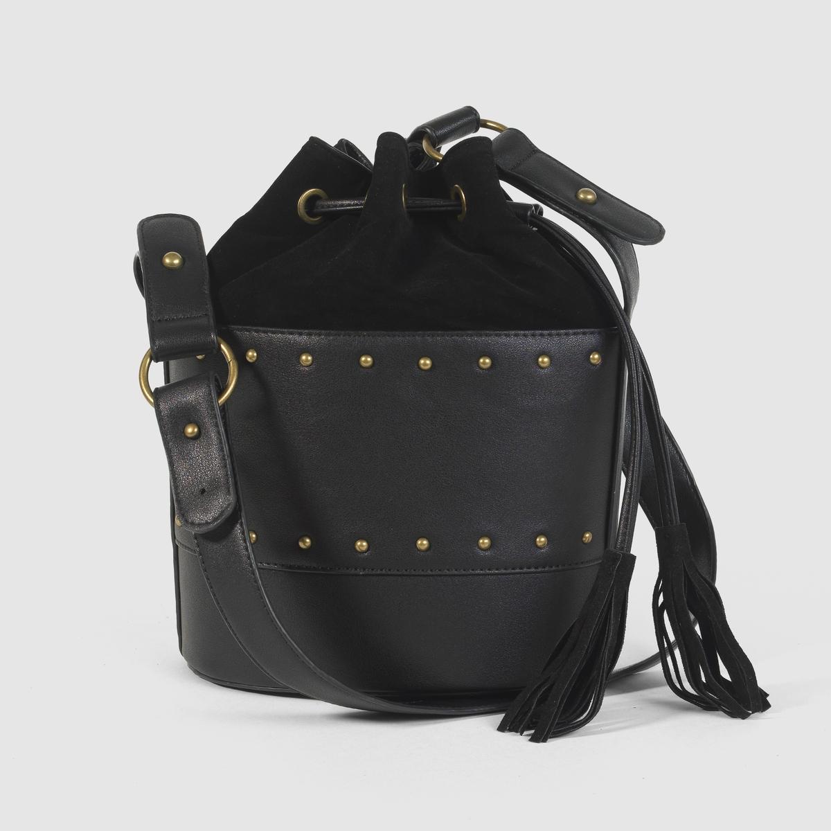 Сумка мешок.Преимущества: Стильная сумка мешок выручит Вас и во время  прогулок, и в рабочие будни, она очень практична, благодаря плечевому ремню и внутреннему карману.<br><br>Цвет: черный<br>Размер: единый размер