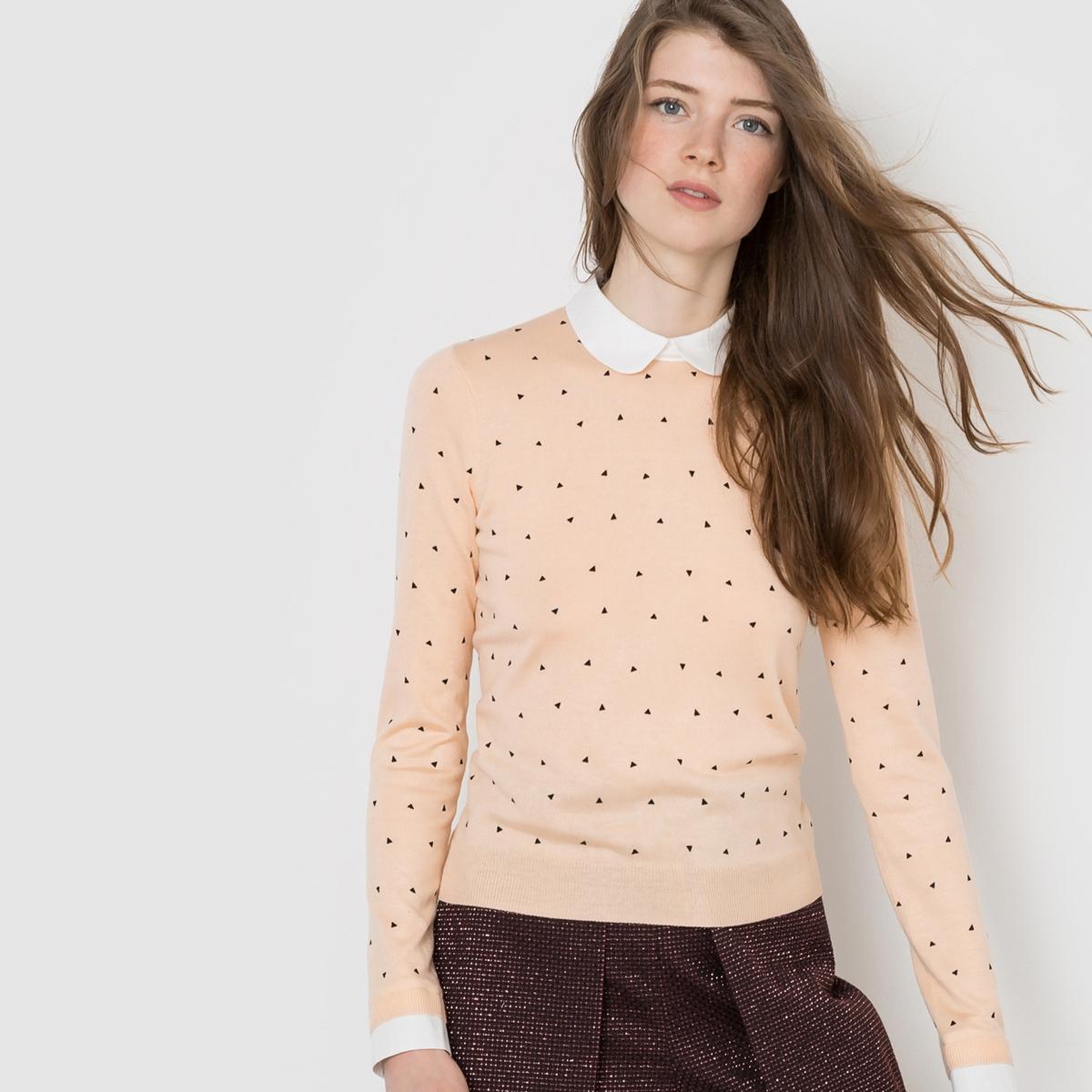 Пуловер с отложным воротникомСостав и описание:Материал: 50% вискозы, 40% полиамида, 10% шерсти.Длина: 56 см.Марка: MADEMOISELLE R<br><br>Цвет: телесный