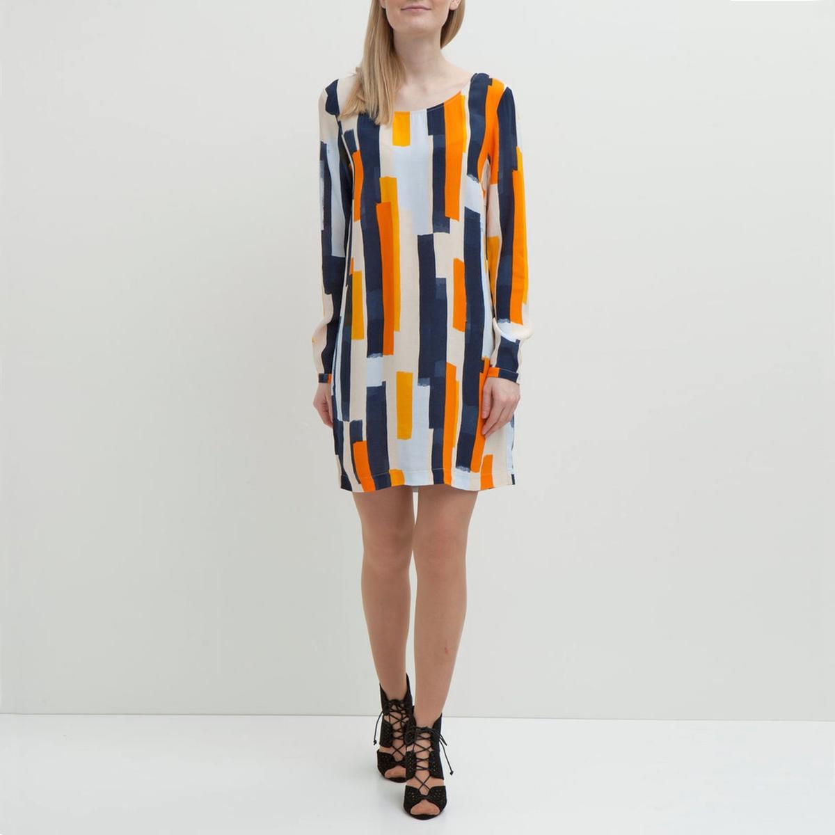 Платье с рисунком и длинными рукавамиМатериал : 100% вискоза  Длина рукава : Длинные рукава  Форма воротника : Круглый вырез Покрой платья : платье прямого покроя  Рисунок : принт.   Длина платья : короткое.<br><br>Цвет: оранжевый/ синий<br>Размер: M