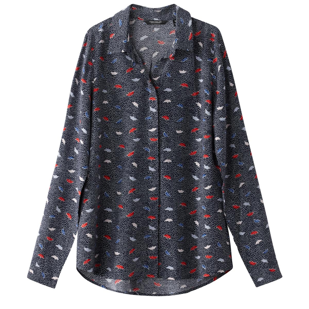 Рубашка с принтом оригами и вышивкой гладьюМатериал : 100% вискоза  Покрой : прямой Длина рукава : длинные рукава Форма воротника : воротник-поло, рубашечный Длина блузки : стандартная Покрой : прямой Рисунок : принт<br><br>Цвет: темно-синий<br>Размер: 40 (FR) - 46 (RUS).38 (FR) - 44 (RUS)