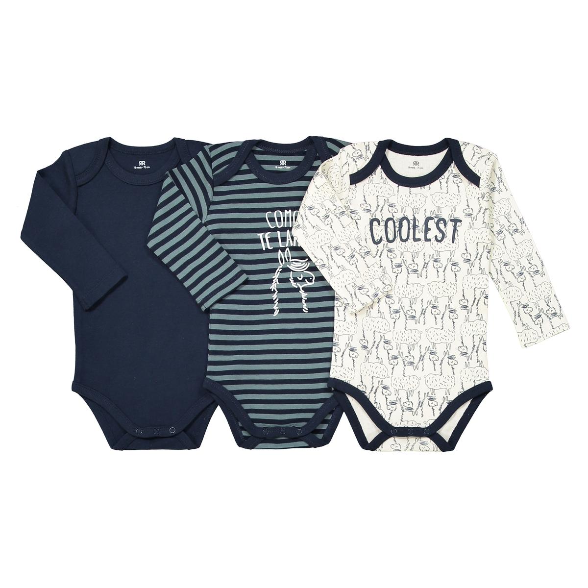 Lote de 3 bodies, em algodão, 0 mês - 3 anos