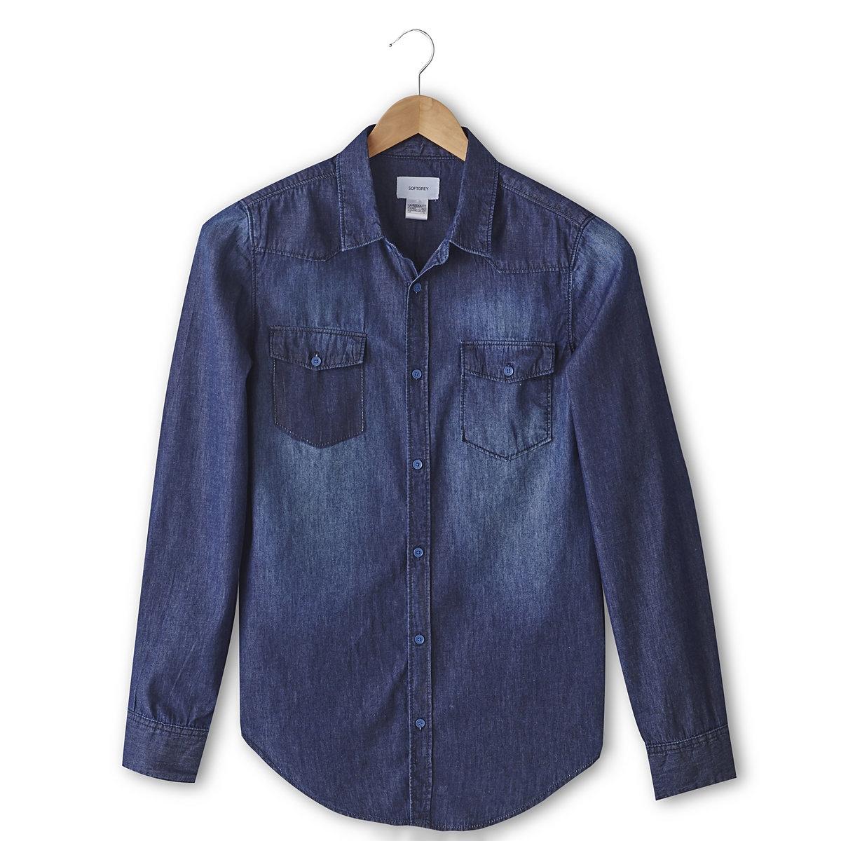 РубашкаДеним, 100% хлопка. Узкий покрой. Свободные уголки воротника. 1 карман с клапаном на пуговице + 1 ложный карман с клапаном. Длинные рукава, манжеты с пуговицами. Закругленный низ. Длина 75,5 см.<br><br>Цвет: синий потертый<br>Размер: 37/38