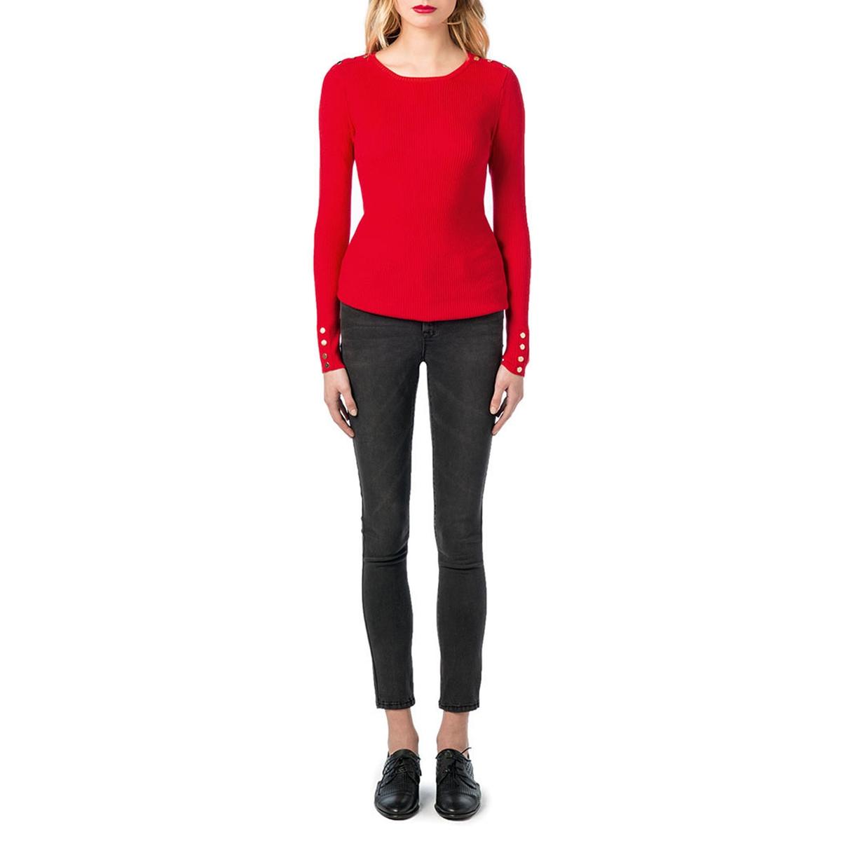 Пуловер с круглым вырезом из тонкого трикотажаОписание:Детали •  Длинные рукава •  Круглый вырез •  Тонкий трикотаж Состав и уход •  70% вискозы, 30% полиамида •  Следуйте советам по уходу, указанным на этикетке<br><br>Цвет: красный<br>Размер: S