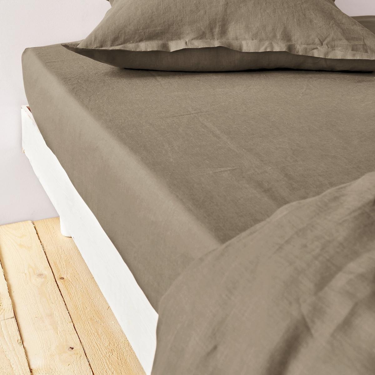 Простыня LaRedoute Натяжная из осветленного льна 140 x 190 см каштановый чехол laredoute для кровати из льна touril 140 x 190 см серый