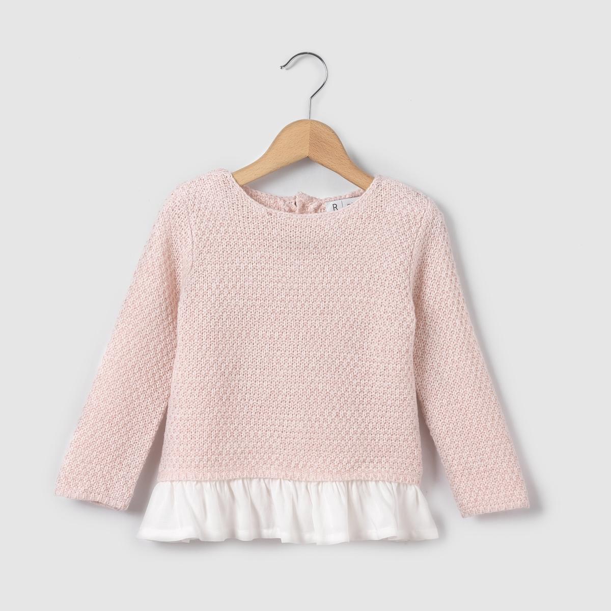 Пуловер из двух материалов, 1 мес. - 3 года