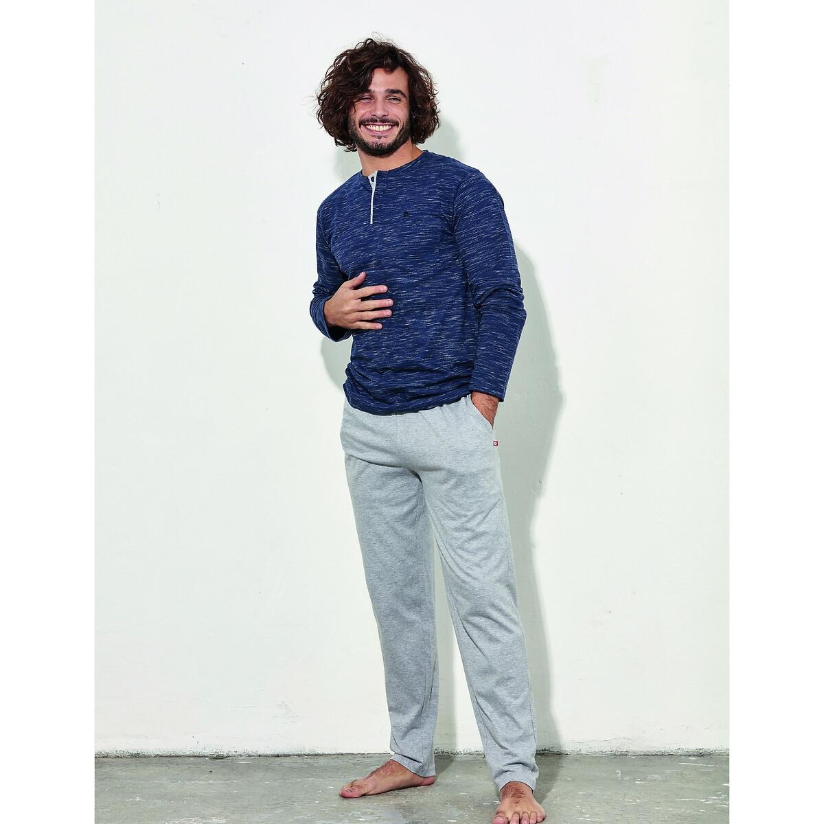 Пижама La Redoute С брюками с круглым вырезом разрезом спереди Islande M синий