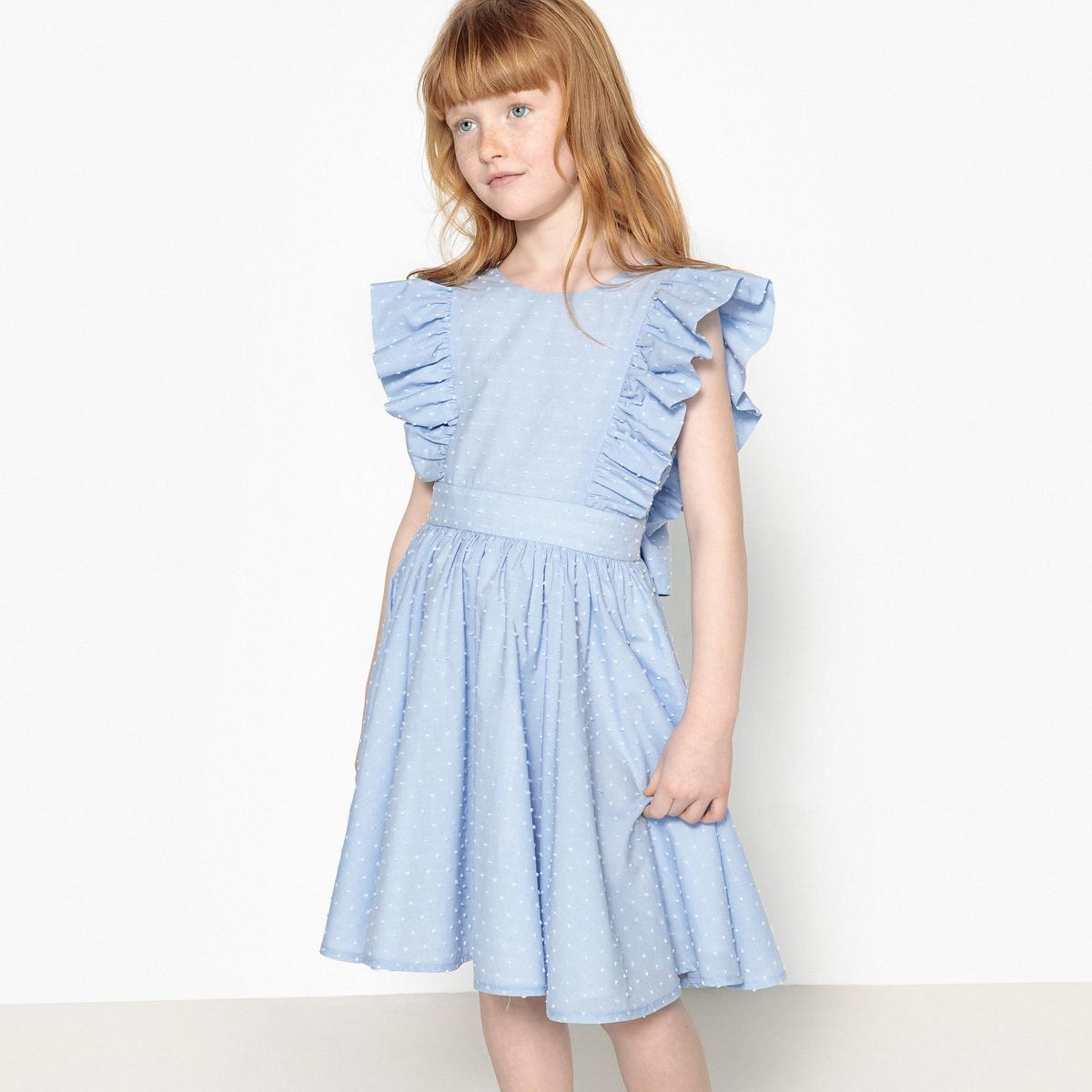 Платье парадное с вышивкой гладью, 3-12 лет футболка с вышивкой и воланами 3 12 лет