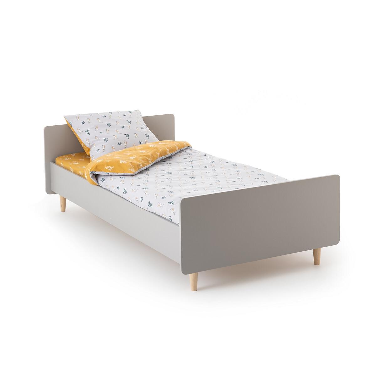 Кровать LaRedoute Детская с кроватным основанием Zag 90 x 190 см серый кровать laredoute с ящиком отделениями для вещей и кроватным основанием yann 90 x 190 см белый