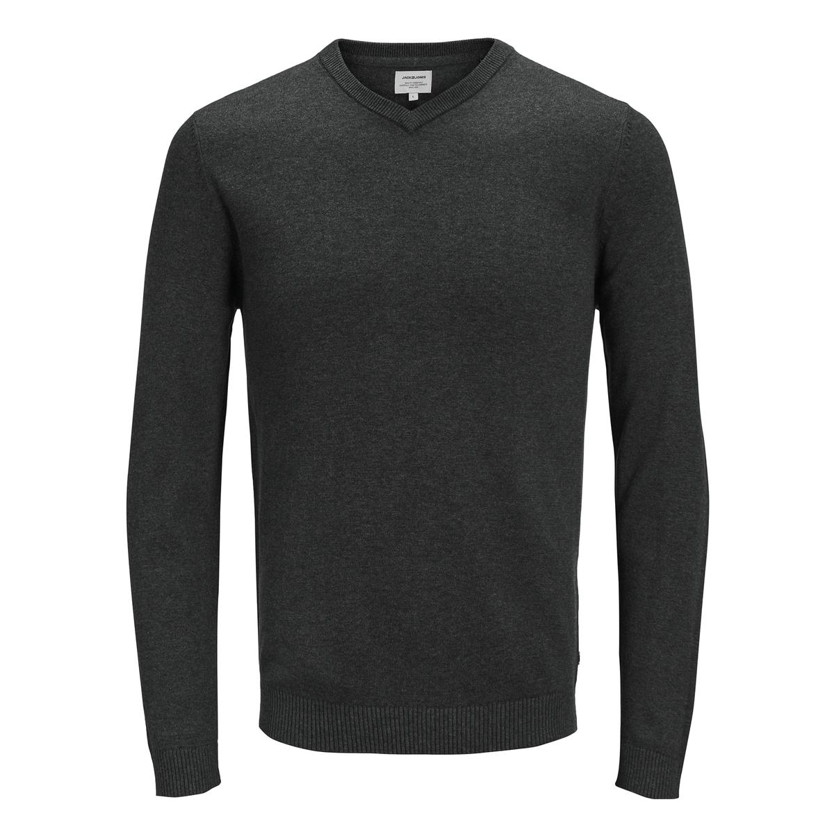 цена Пуловер La Redoute С V-образным вырезом из тонкого трикотажа XXL серый онлайн в 2017 году