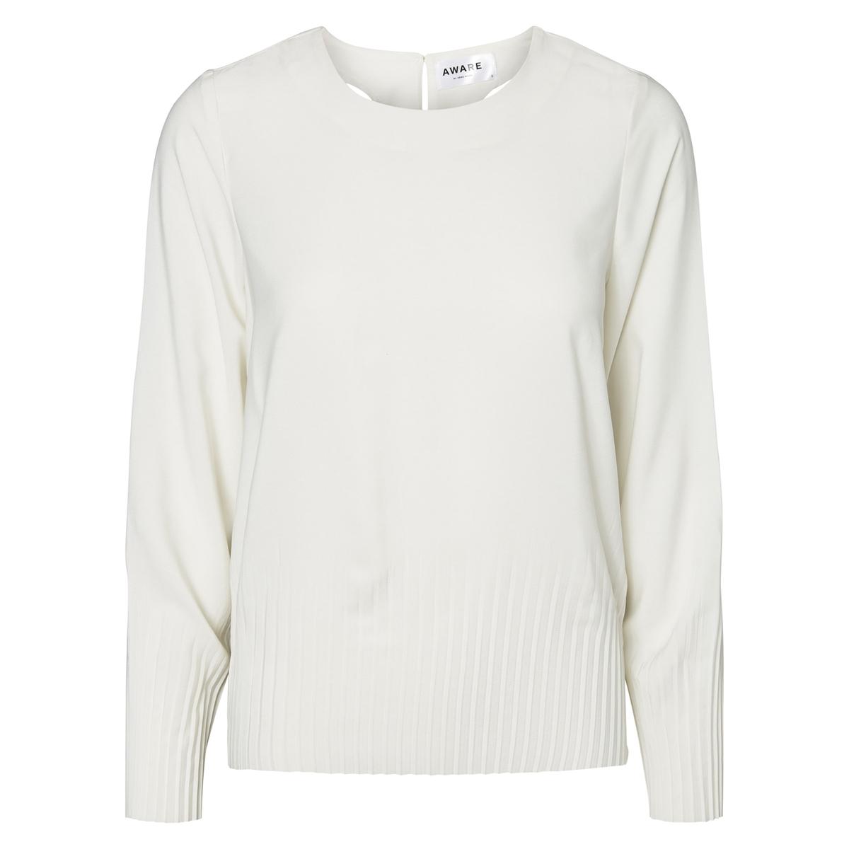 Блузка однотонная с круглым вырезом и длинными рукавами vero moda свитер с длинными рукавами