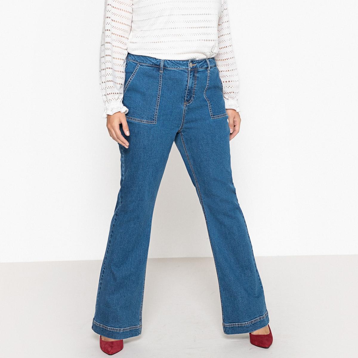 Джинсы расклешенные с накладными карманами джинсы расклешенные длина 34